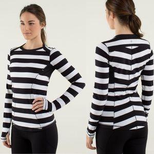 Lululemon Base Runner Long Sleeve Striped Top Sz